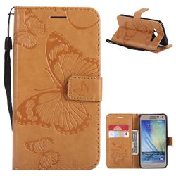 Embossing 3D Butterfly Leather Wallet Case for Samsung Galaxy J5 2015 J500 - Yellow