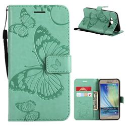 Embossing 3D Butterfly Leather Wallet Case for Samsung Galaxy J5 2015 J500 - Green