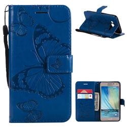 Embossing 3D Butterfly Leather Wallet Case for Samsung Galaxy J5 2015 J500 - Blue