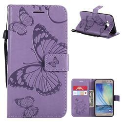 Embossing 3D Butterfly Leather Wallet Case for Samsung Galaxy J5 2015 J500 - Purple