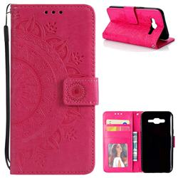 Intricate Embossing Datura Leather Wallet Case for Samsung Galaxy J5 2015 J500 - Rose Red