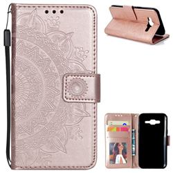 Intricate Embossing Datura Leather Wallet Case for Samsung Galaxy J5 2015 J500 - Rose Gold
