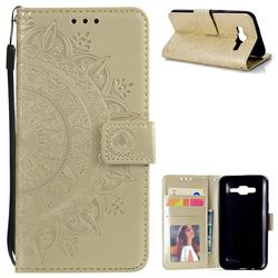 Intricate Embossing Datura Leather Wallet Case for Samsung Galaxy J5 2015 J500 - Golden