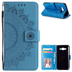 Intricate Embossing Datura Leather Wallet Case for Samsung Galaxy J5 2015 J500 - Blue