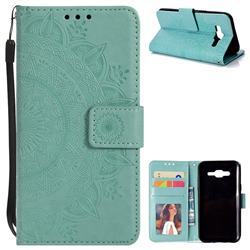 Intricate Embossing Datura Leather Wallet Case for Samsung Galaxy J5 2015 J500 - Mint Green
