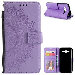 Intricate Embossing Datura Leather Wallet Case for Samsung Galaxy J5 2015 J500 - Purple