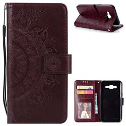 Intricate Embossing Datura Leather Wallet Case for Samsung Galaxy J5 2015 J500 - Brown