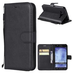 Retro Greek Classic Smooth PU Leather Wallet Phone Case for Samsung Galaxy J5 2015 J500 - Black