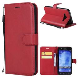 Retro Greek Classic Smooth PU Leather Wallet Phone Case for Samsung Galaxy J5 2015 J500 - Red