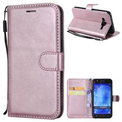Retro Greek Classic Smooth PU Leather Wallet Phone Case for Samsung Galaxy J5 2015 J500 - Rose Gold