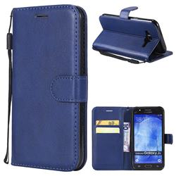 Retro Greek Classic Smooth PU Leather Wallet Phone Case for Samsung Galaxy J5 2015 J500 - Blue