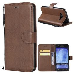 Retro Greek Classic Smooth PU Leather Wallet Phone Case for Samsung Galaxy J5 2015 J500 - Brown