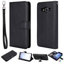 Retro Greek Detachable Magnetic PU Leather Wallet Phone Case for Samsung Galaxy J5 2015 J500 - Black