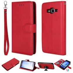 Retro Greek Detachable Magnetic PU Leather Wallet Phone Case for Samsung Galaxy J5 2015 J500 - Red