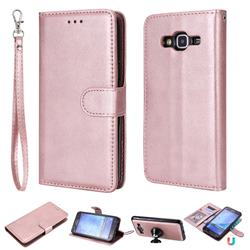 Retro Greek Detachable Magnetic PU Leather Wallet Phone Case for Samsung Galaxy J5 2015 J500 - Rose Gold
