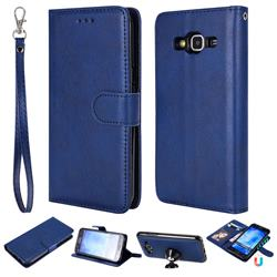 Retro Greek Detachable Magnetic PU Leather Wallet Phone Case for Samsung Galaxy J5 2015 J500 - Blue