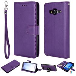 Retro Greek Detachable Magnetic PU Leather Wallet Phone Case for Samsung Galaxy J5 2015 J500 - Purple