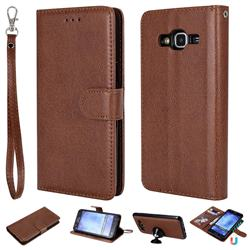 Retro Greek Detachable Magnetic PU Leather Wallet Phone Case for Samsung Galaxy J5 2015 J500 - Brown