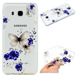 Blue Butterfly Flowers Super Clear Soft TPU Back Cover for Samsung Galaxy J5 2016 J510