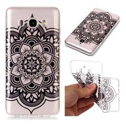 Black Mandala Flower Super Clear Soft TPU Back Cover for Samsung Galaxy J5 2016 J510