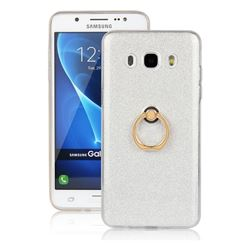 Luxury Soft TPU Glitter Back Ring Cover with 360 Rotate Finger Holder Buckle for Samsung Galaxy J5 2016 J510 - White