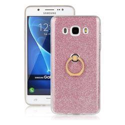 Luxury Soft TPU Glitter Back Ring Cover with 360 Rotate Finger Holder Buckle for Samsung Galaxy J5 2016 J510 - Pink
