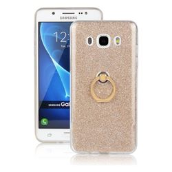 Luxury Soft TPU Glitter Back Ring Cover with 360 Rotate Finger Holder Buckle for Samsung Galaxy J5 2016 J510 - Golden