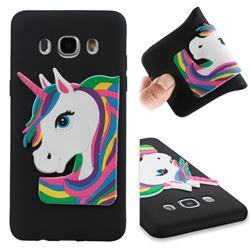 Rainbow Unicorn Soft 3D Silicone Case for Samsung Galaxy J5 2016 J510 - Black