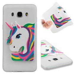 Rainbow Unicorn Soft 3D Silicone Case for Samsung Galaxy J5 2016 J510 - Translucent White
