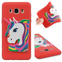Rainbow Unicorn Soft 3D Silicone Case for Samsung Galaxy J5 2016 J510 - Red