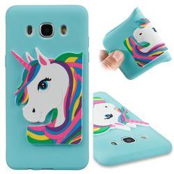 Rainbow Unicorn Soft 3D Silicone Case for Samsung Galaxy J5 2016 J510 - Sky Blue