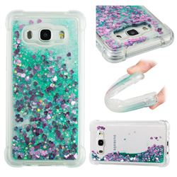 Dynamic Liquid Glitter Sand Quicksand TPU Case for Samsung Galaxy J5 2016 J510 - Green Love Heart