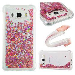 Dynamic Liquid Glitter Sand Quicksand TPU Case for Samsung Galaxy J5 2016 J510 - Rose Gold Love Heart