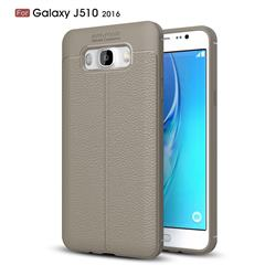 Luxury Auto Focus Litchi Texture Silicone TPU Back Cover for Samsung Galaxy J5 2016 J510 - Gray