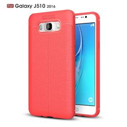 Luxury Auto Focus Litchi Texture Silicone TPU Back Cover for Samsung Galaxy J5 2016 J510 - Red