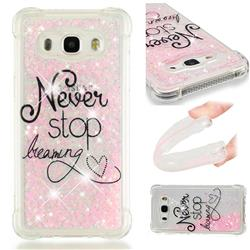 Never Stop Dreaming Dynamic Liquid Glitter Sand Quicksand Star TPU Case for Samsung Galaxy J5 2016 J510