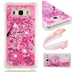 Pink Cherry Blossom Dynamic Liquid Glitter Sand Quicksand Star TPU Case for Samsung Galaxy J5 2016 J510