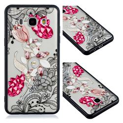 Tulip Lace Diamond Flower Soft TPU Back Cover for Samsung Galaxy J5 2016 J510