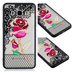 Rose Lace Diamond Flower Soft TPU Back Cover for Samsung Galaxy J5 2016 J510