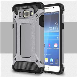 King Kong Armor Premium Shockproof Dual Layer Rugged Hard Cover for Samsung Galaxy J5 2016 J510 - Silver Grey