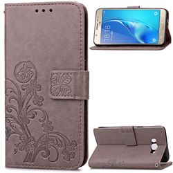 Embossing Imprint Four-Leaf Clover Leather Wallet Case for Samsung Galaxy J5 2016 J510 - Gray