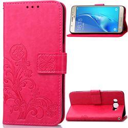 Embossing Imprint Four-Leaf Clover Leather Wallet Case for Samsung Galaxy J5 2016 J510 - Rose