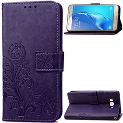 Embossing Imprint Four-Leaf Clover Leather Wallet Case for Samsung Galaxy J5 2016 J510 - Purple