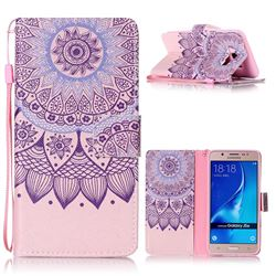 Purple Sunflower Leather Wallet Phone Case for Samsung Galaxy J5 2016 J510
