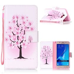 Peach Flower Leather Wallet Phone Case for Samsung Galaxy J5 2016 J510