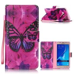 Black Butterfly Leather Wallet Phone Case for Samsung Galaxy J5 2016 J510