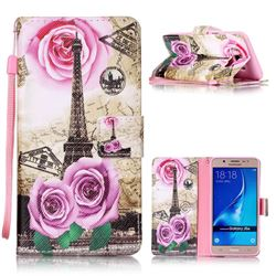 Rose Eiffel Tower Leather Wallet Phone Case for Samsung Galaxy J5 2016 J510