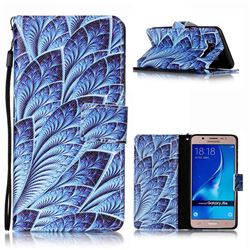 Blue Feather Leather Wallet Phone Case for Samsung Galaxy J5 2016 J510