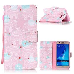 Pink Elephant Leather Wallet Phone Case for Samsung Galaxy J5 2016 J510