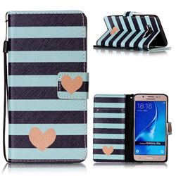 Blue Stripe Heart Leather Wallet Phone Case for Samsung Galaxy J5 2016 J510